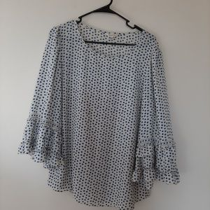 Max studio blue polka dot blouse with bell sleeves